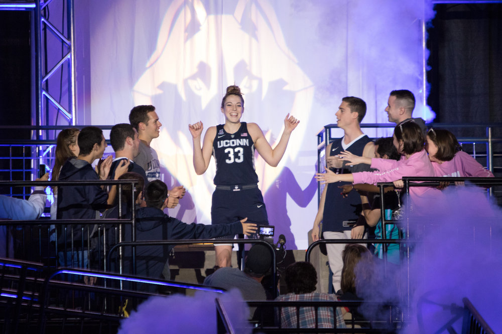 UConn sophomore Katie Lou Samuelson comes out of the tunnel during UConn First Night on Friday Oct. 14, 2016. Samuelson will be one of the most important factors for the UConn women's team. (Jackson Haigis/The Daily Campus)