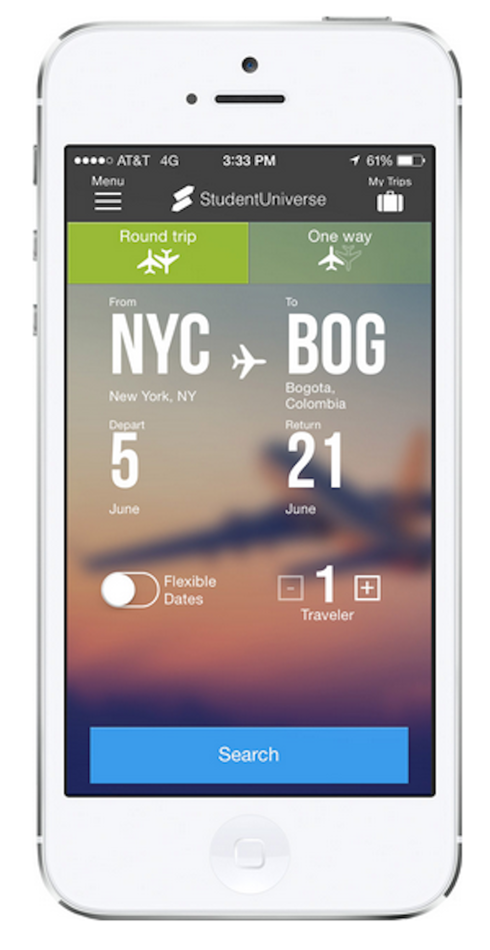 The StudentUniverse app provides the best airline ticket deals for students planning trips on a budget. (Screenshot/StudentUniverse)