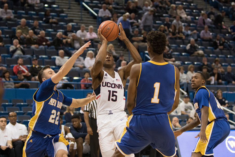 The UConn mens' basketball team defeated New Haven Sunday afternoon Oct. 30, 2016 in an exhibition matchup at the XL Center. (Jason Haigis/ This Daily Campus)