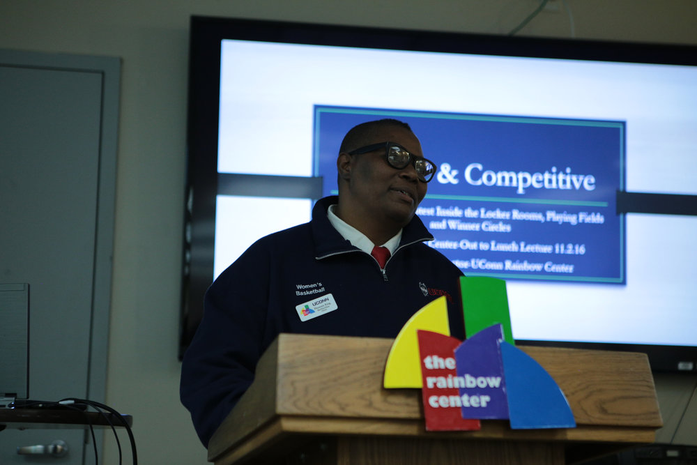 Fleurette King, Director of the Rainbow Center for nearly a decade, gave her final lecture Wednesday afternoon about LGBTQI+ athletes. King has taken a new position as Assistant Vice President of Equity and Inclusion at the University of Northern Colorado. (Junbo Huang/The Daily Campus)