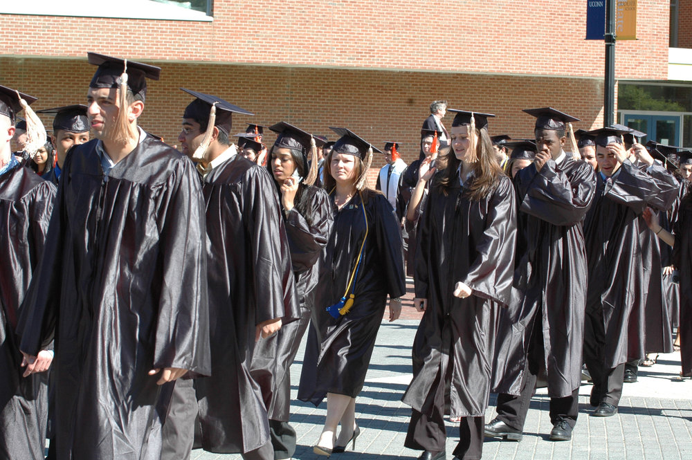 Students line up for graduation on Fairfield Way. (File Photo/The Daily Campus)