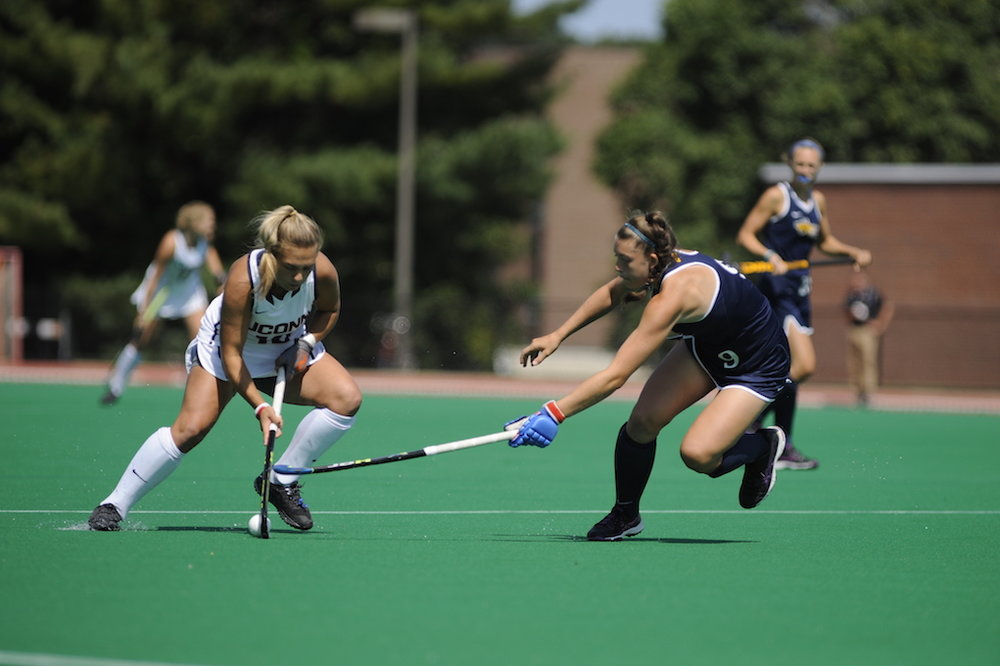 UConn's Amanda Collins brings up the ball during a game against Quinnipiac.The Huskies defeated the Drexel Dragons 7-2 at the Sherman Family sports complex. (Jason Jiang/The Daily Campus)