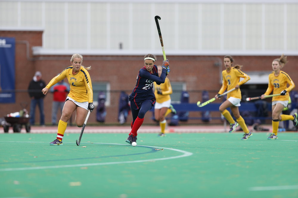 UConn forward Charlotte Veitner, two-time Big East offensive player of the year, winds up for a shot in the Huskies' 5-1 victory over Quinnipiac on Friday Oct. 28, 2016. (Tyler Benton/The Daily Campus)