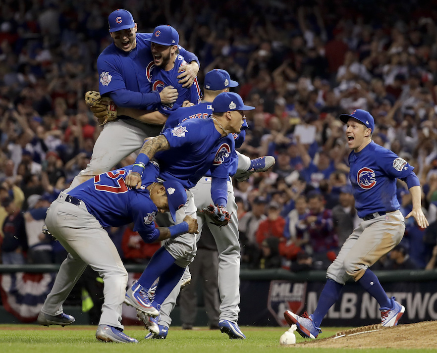 Chicago Cubs celebrate after Game 7 of the Major League Baseball World Series against the Cleveland IndiansThursday, Nov. 3, 2016, in Cleveland. The Cubs won 8-7 in 10 innings to win the series 4-3. (Matt Slocum/AP Photo)