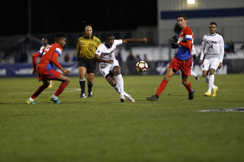The Huskies took on SMU on Saturday at Morrone Stadium. Abode Thiam (#11) helped to lead UConn to the American Athletic Conference. (Tyler Benton/The Daily Campus)