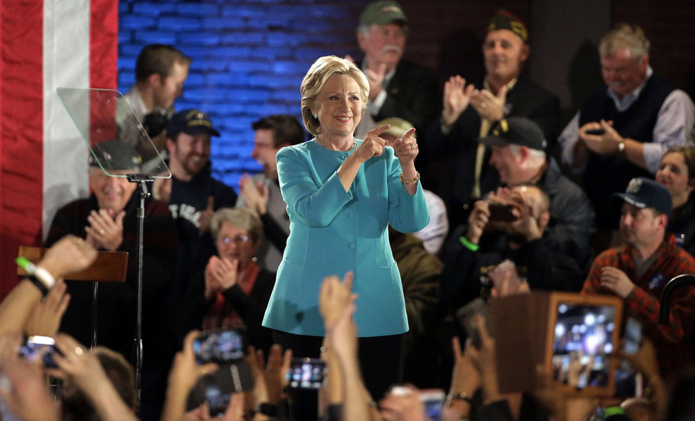 Democratic presidential candidate Hillary Clinton greets the audience during a campaign rally Sunday, Nov. 6, 2016, in Manchester, N.H. Piccolo said that voting for Clinton comes from a very personal place. (Steven Senne/AP Exchange)
