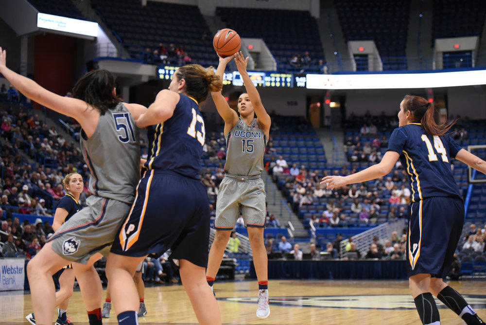 UConn guard Gabby Williams (15) shoots during the Huskies 95-32 victory over Pace University on Nov. 6, 2016 at the XL Center. (Zhelun Lang/The Daily Campus)