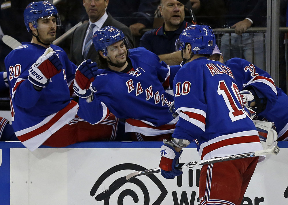 New York Rangers left wing J.T. Miller (10) celebrates scoring a goal with Rangers right wing Mats Zuccarello and Rangers left wing Chris Kreider (20) in the second period of an NHL hockey game, Sunday, Nov. 6, 2016, in New York. (Adam Hunger/AP)