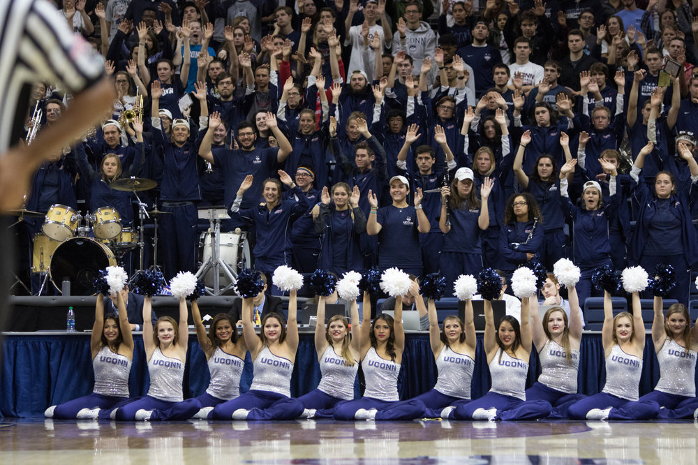 The UConn Pep Band celebrates during the Huskies 94-65 victory over Southern Connecticut State University on Saturday, Nov. 5, 2016 in Gampel Pavilion. This was the first game that the band was moved in front of the student section. (Jackson Haigis/The Daily Campus)