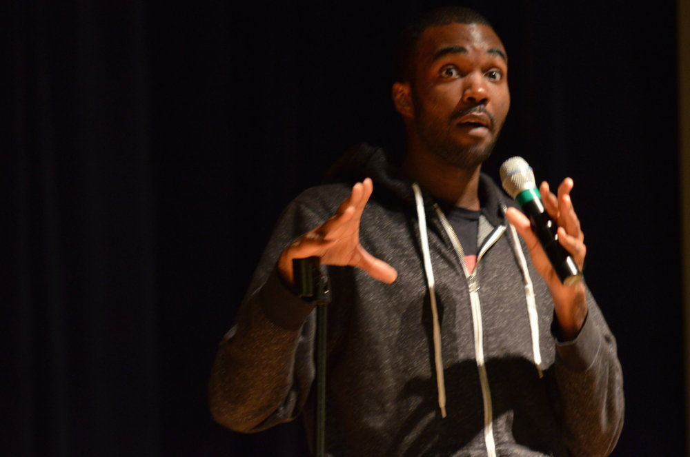 Comedian Lafayette Wright has students in fits of laughter, providing them with a much-needed break from the highly emotional events over the past few days. SUBOG Comedy hosted the comedian at the Student Union Theatre on Wednesday, November 9; the event was free to all students. (Akshara Thejaswi/The Daily Campus)