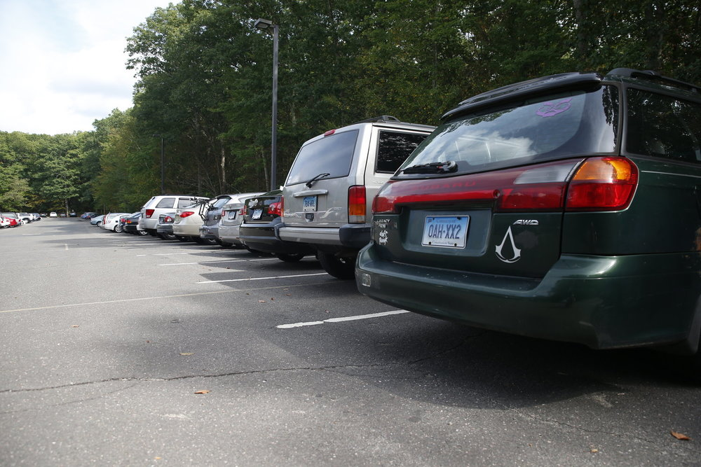 Life's never easy for a commuter, as all these owners of the cars could probably attest. (Tyler Benton/The Daily Campus)