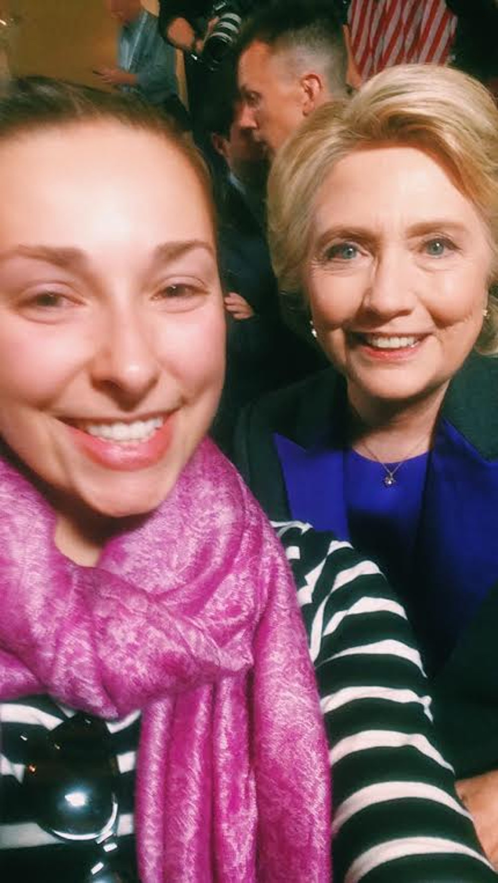 The writer takes a selfie with Hillary Clinton after her concession speech on Wednesday, Nov. 10, 2016. (Marissa Piccolo/The Daily Campus)