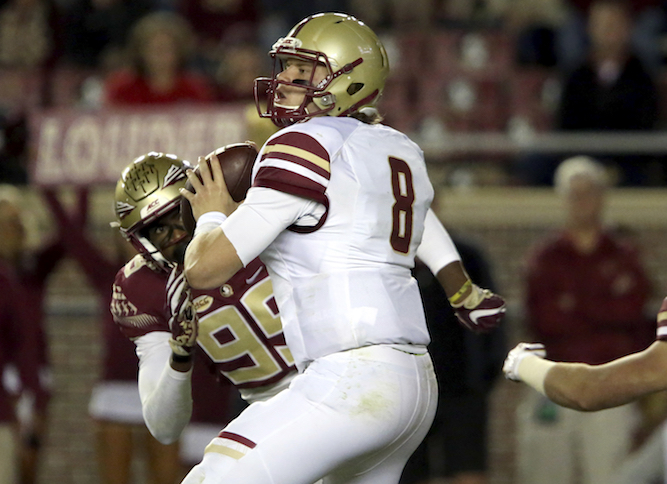 Boston College's Patrick Towles look to pass against the Florida State defense in the fourth quarter of an NCAA college football game, Friday, Nov. 11, 2016, in Tallahassee, Fla. Florida State won the game 45-7. (Steve Cannon/AP Photo)