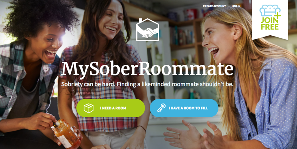 A screenshot of mysoberroommate.com's home page. Student's can select whether they need a room or have a room to fill, and create their own account. (Screenshot/MySoberRoommate)