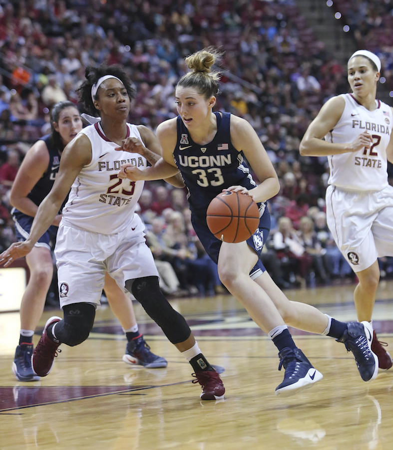 Connecticut's Katie Lou drives the basketball up court as Florida State's Ivey Slaughter defends in the second quarter of an NCAA college basketball game, Monday, Nov. 14, 2016, in Tallahassee, Fla. UConn won the game 78-76. (Steve Cannon/AP Photo)
