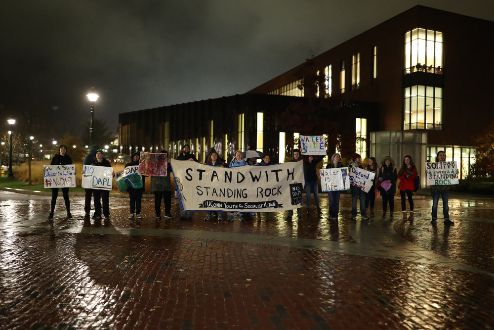Students in Fairfield Way to protest the installation of the Dakota Access Pipeline affecting the Standing Rock Sioux Native American peoples of North Dakota on Tuesday, Nov. 15, 2016. This pipeline has raised much controversy amongst environmentalists and social activists because it poses potential threats to the only water source for the area and its construction could damage sacred burial grounds and other ancient Native American sites. (Owen Bonaventura/The Daily Campus)