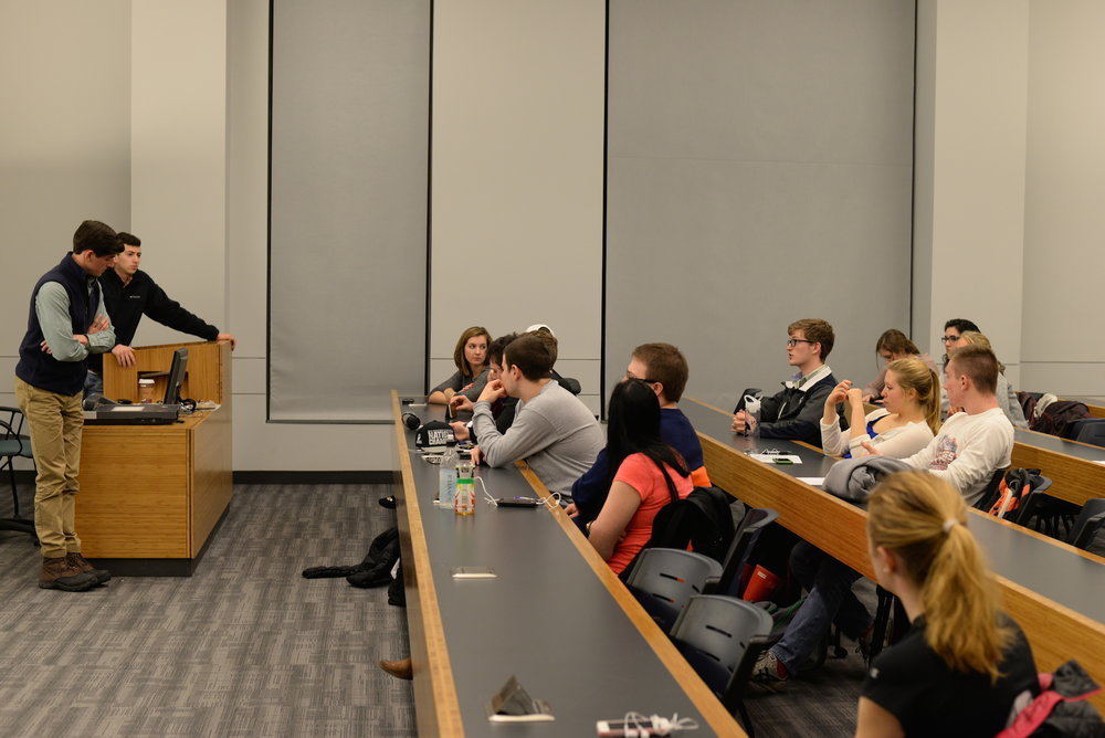 The UConn College Republicans debate the abortion issue during their weekly evening meeting on Tuesday, Feb. 16. Paul DaSilva, the organization's president, is featured on the right of the podium. (Amar Batra/The Daily Campus)