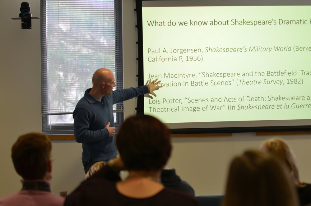 Greg Semenza presents an analysis on Shakespeare's battle scenes, delving into the parallels and differences on their presentation in his writings and in film adaptations. Semenza is a professor in the English department at UConn. (Akshara Thejaswi/The Daily Campus)