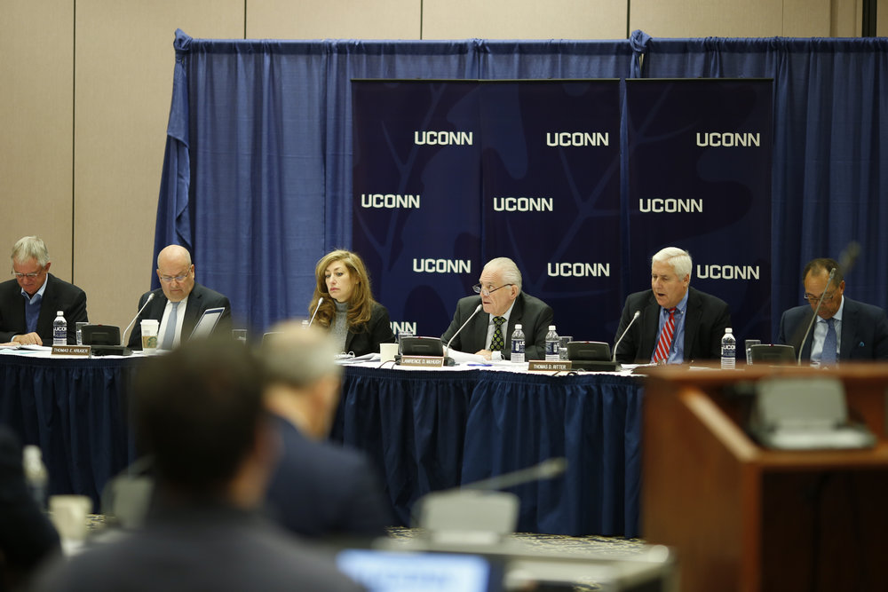 The Board of Trustees discusses university actions during their monthly meeting on Oct. 26, 2016 in the Rome Ballroom. The board will discuss a student fee increase at their Dec. 7 meeting. (Tyler Benton/The Daily Campus)