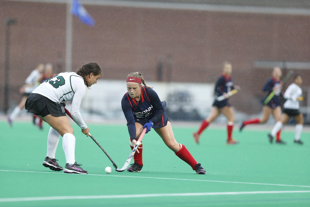 UConn freshman forward Svea Boker fights for the ball in the Huskies' win 9-0 over Dartmouth on Sunday Oct. 9, 2016, at the Sherman Sports Complex. (Jason Jiang/The Daily Campus)