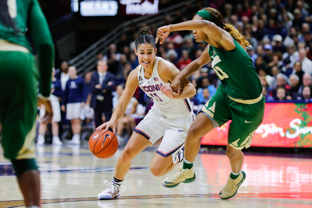 UConn's Kia Nurse drives to the basket in the Huskies' 72-61 victory over Baylor on Nov. 17, 2016 at Gampel Pavilion. (Tyler Benton/The Daily Campus)