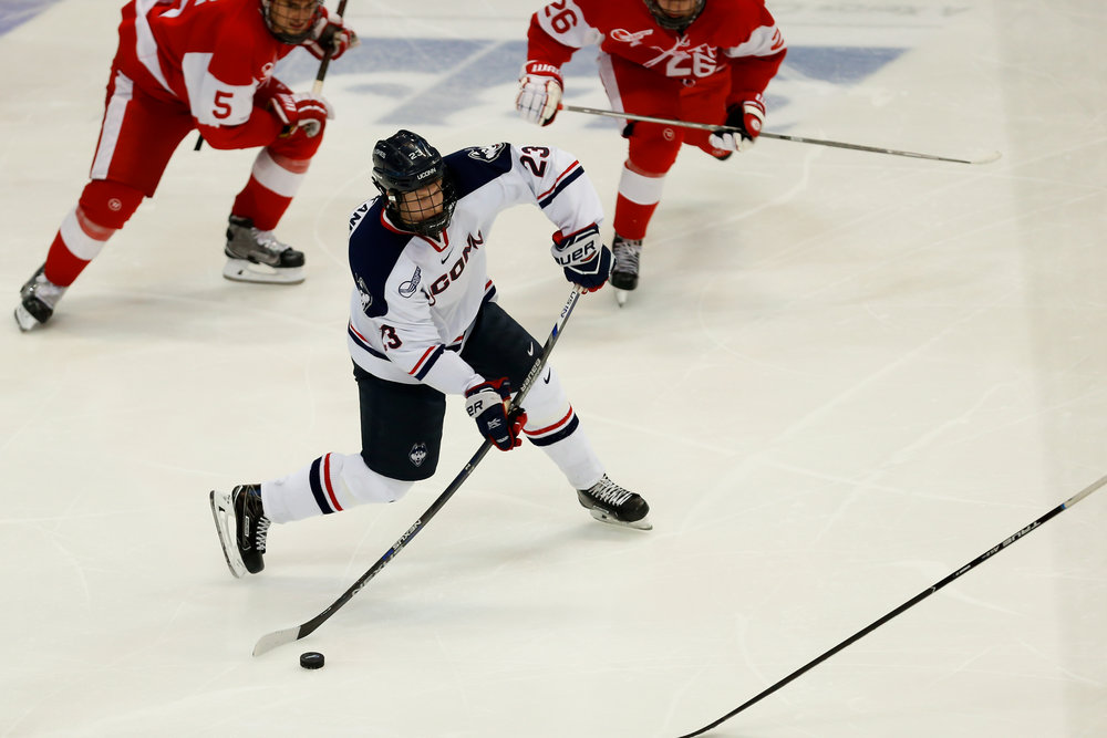 UConn's Kasperi Ojantakanen attempts a shot during the Huskies' 2-1 loss to BU on Nov. 18, 2016 at the XL Center in Hartford, Connecticut. (Tyler Benton/The Daily Campus)