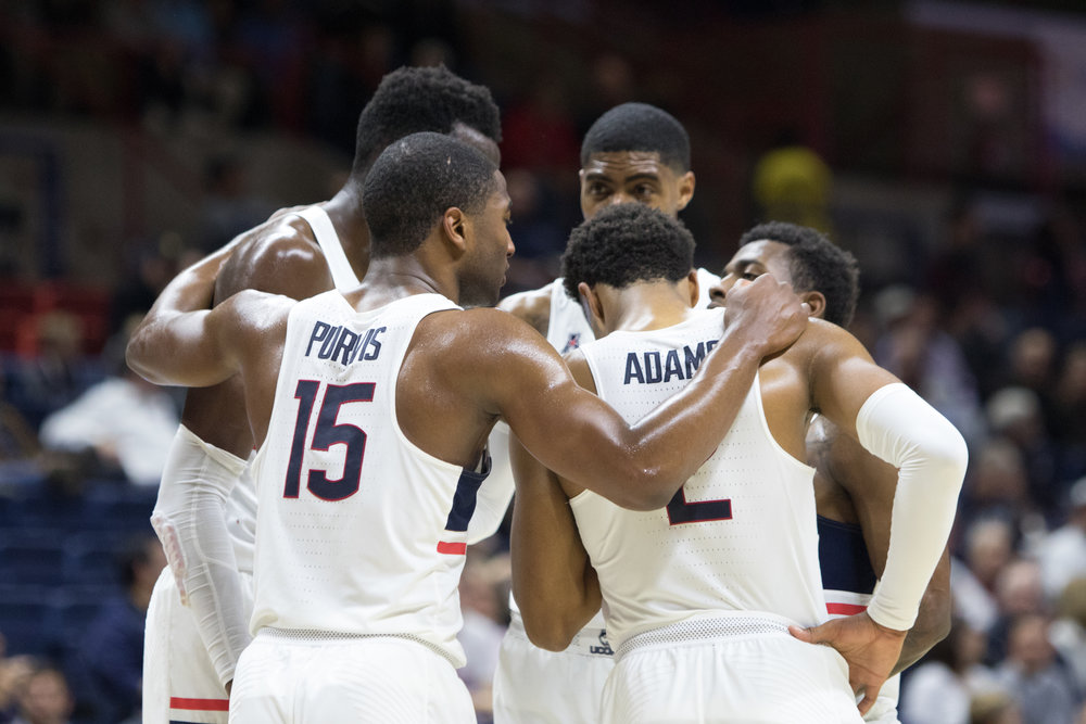 Members of the UConn men's basketball huddle up in the Huskies loss to Northeastern on Monday Nov. 14, 2016 at Gampel Pavilion. (Jackson Haigis/ The Daily Campus)