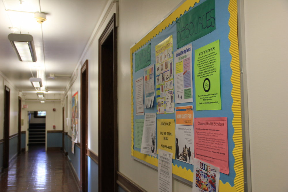Inside the residence halls in Holcomb Hall. A meeting was held to discuss the note posted on bulletin board on November 15th. (File photo/The Daily Campus)
