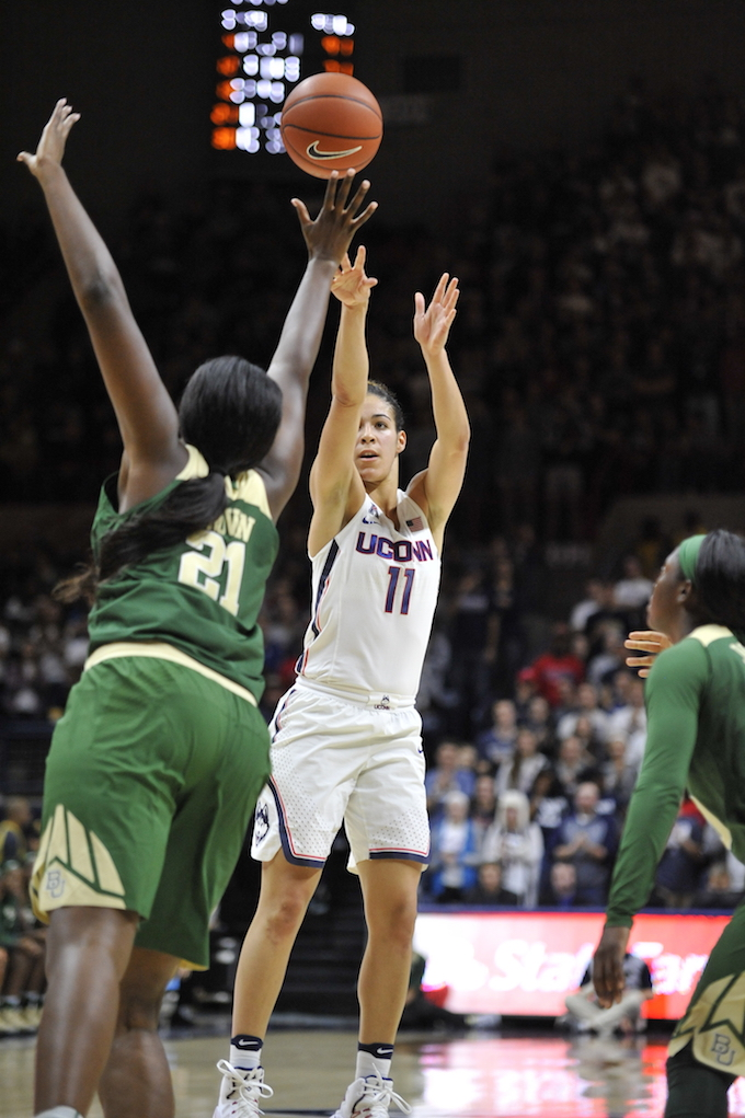 UConn's Kia Nurse (#11) takes a shot during the Huskies' game against Baylor on Thursday, November 11, at Gampel Pavilion. (Jason Jiang/The Daily Campus)