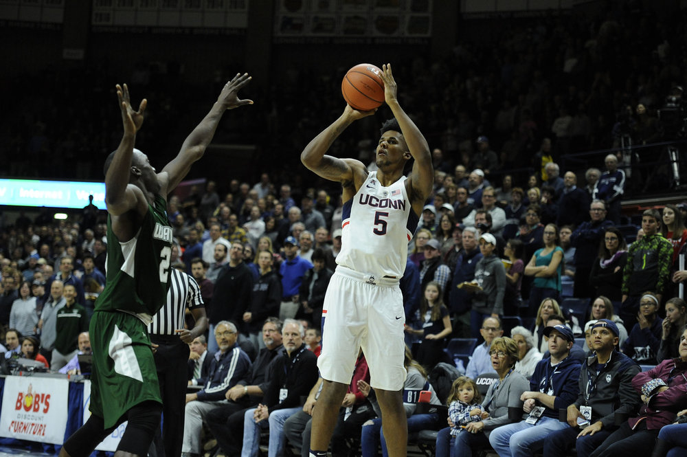 Freshman Vance Jackson takes a shot at UConn's 67-58 loss on Friday, Nov. 11 at Gampel Pavilion against Wagner College. (Jason Jiang/The Daily Campus)