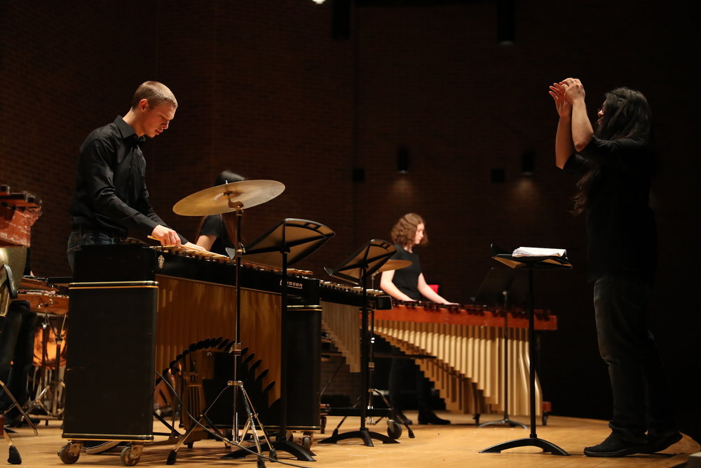 The UConn Percussion Ensemble, directed by Robert McEwan, performs several orchestral percussion arrangements for their winter concert in the Von Der Mehden Recital Hall at the UConn Storrs Campus on Tuesday, Nov. 29, 2016. (Owen Bonaventura/The Daily Campus)