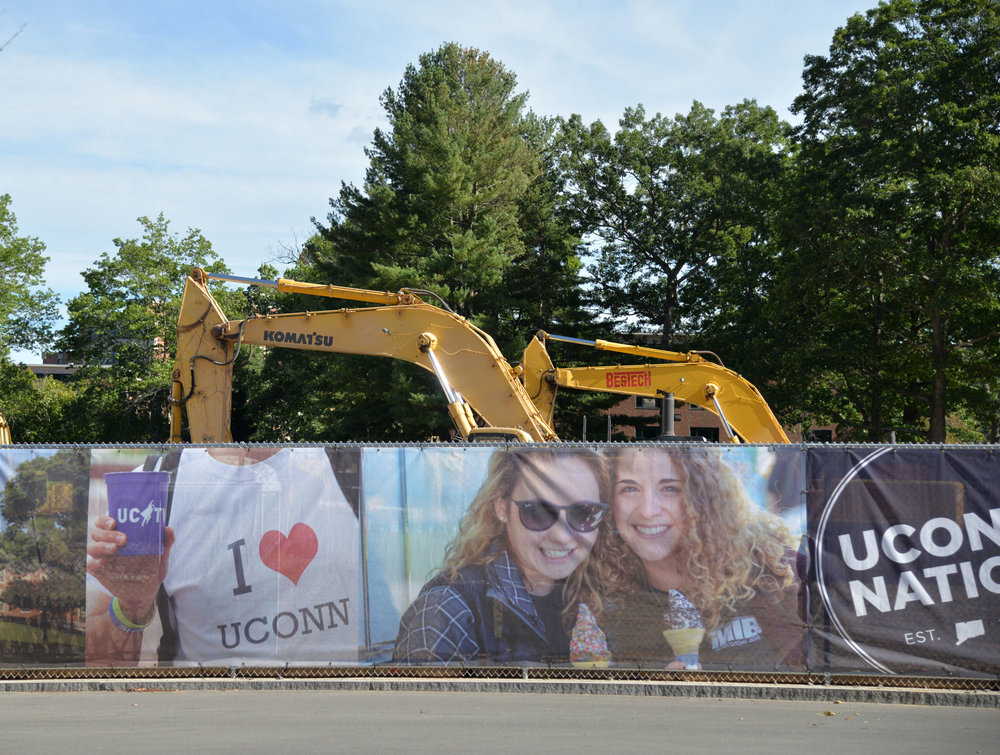 Construction continues at the site of the former Connecticut Commons dormitory. The site will reopen in the fall of 2019 as the new recreation center. (Zhelun Lang/The Daily Campus)