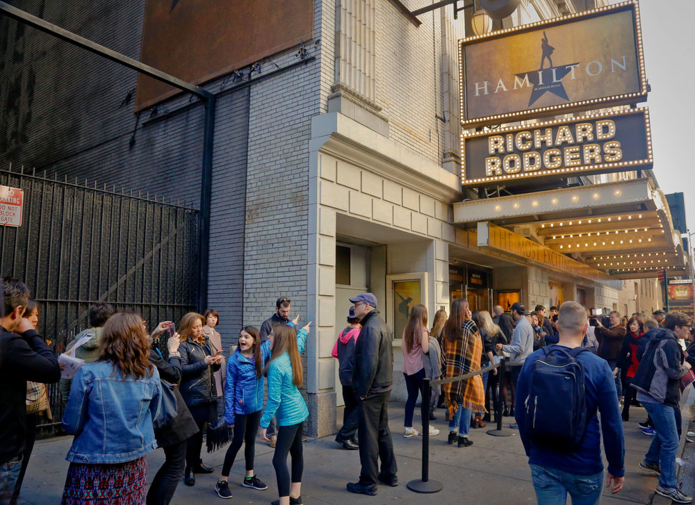 "People line-up to see the Broadway play ""Hamilton,"" Saturday Nov. 19, 2016, in New York. President-elect Donald Trump demanded an apology from the cast of the hit musical a day after an actor lectured Vice President-elect Mike Pence about equality, prompting angry responses from liberals and conservatives. (Bebeto Matthews/AP)"