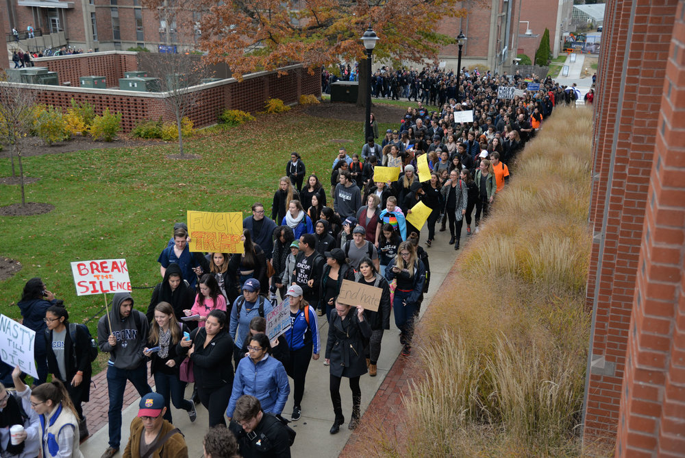 UConn students participate in the Rally for the People to protest the election of Donald Trump as president and demand that UConn create a system to handle the deportation of a student on Nov. 9, 2016. The university failed to give a response by Dec. 1, the date they promised to respond by. (Amar Batra/The Daily Campus)