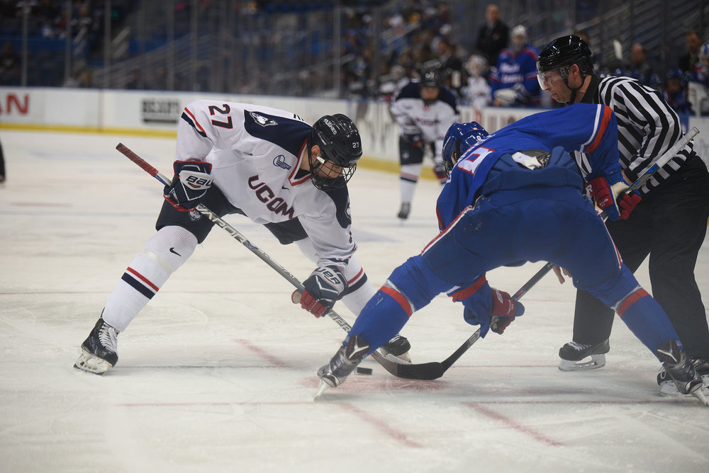 UConn Men's Hockey ties No. 4/3 nationally ranked UMass Lowell Saturday afternoon at XL center with a overall score of 2-2.  (Zhelun Lang/The Daily Campus)