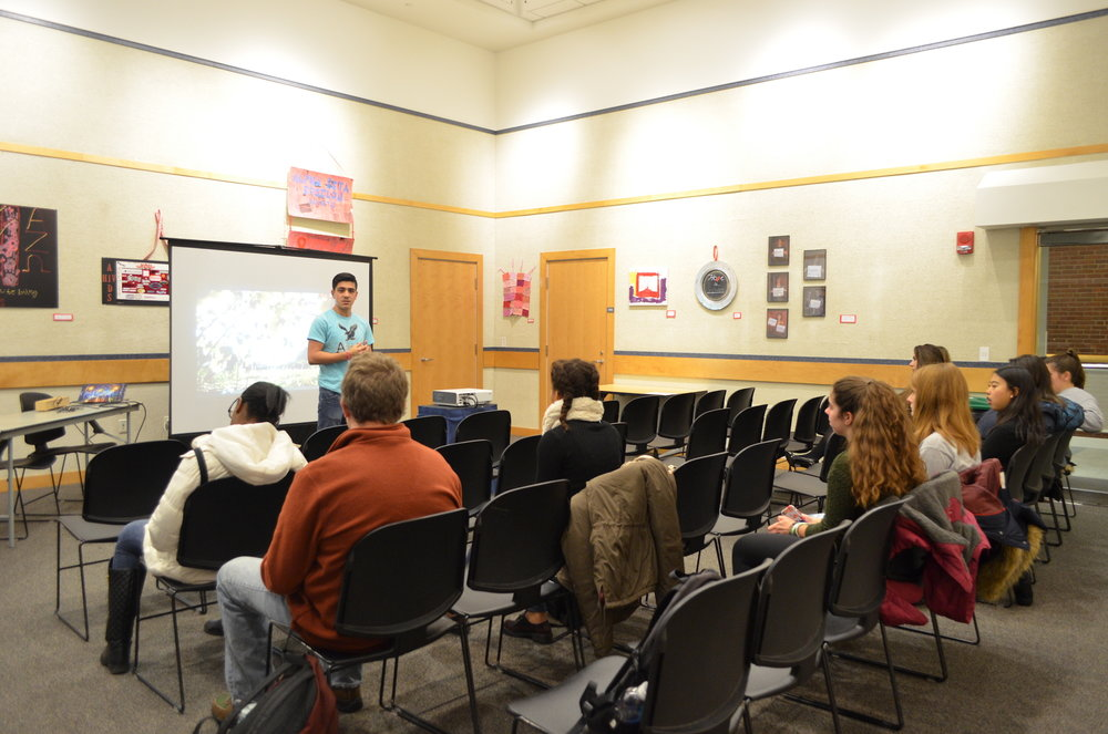 "Students attended a film screening and post-film discussion of ""Wilhelmina's War"" in the Student Union Art Gallery on Monday, December 5. The film screening was held in honor of World AIDS Day. (Akshara Thejaswi/The Daily Campus)"
