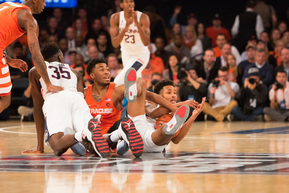 UConn sophomore Jalen Adams calls timeout after recovering a loose ball in the first half in the 52-50 win over Syracuse at MSG on Monday, Dec. 5, 2016. (Jackson Haigis/The Daily Campus)