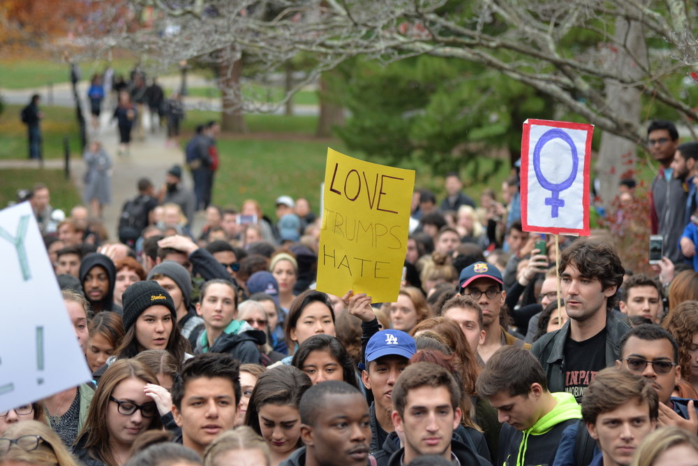 """Mr. Trump is not my President,"" was the rallying cry heard around campus on Wednesday afternoon, intermingled with emotional stories from students belonging to various minority groups on campus. (Amar Batra/The Daily Campus)"