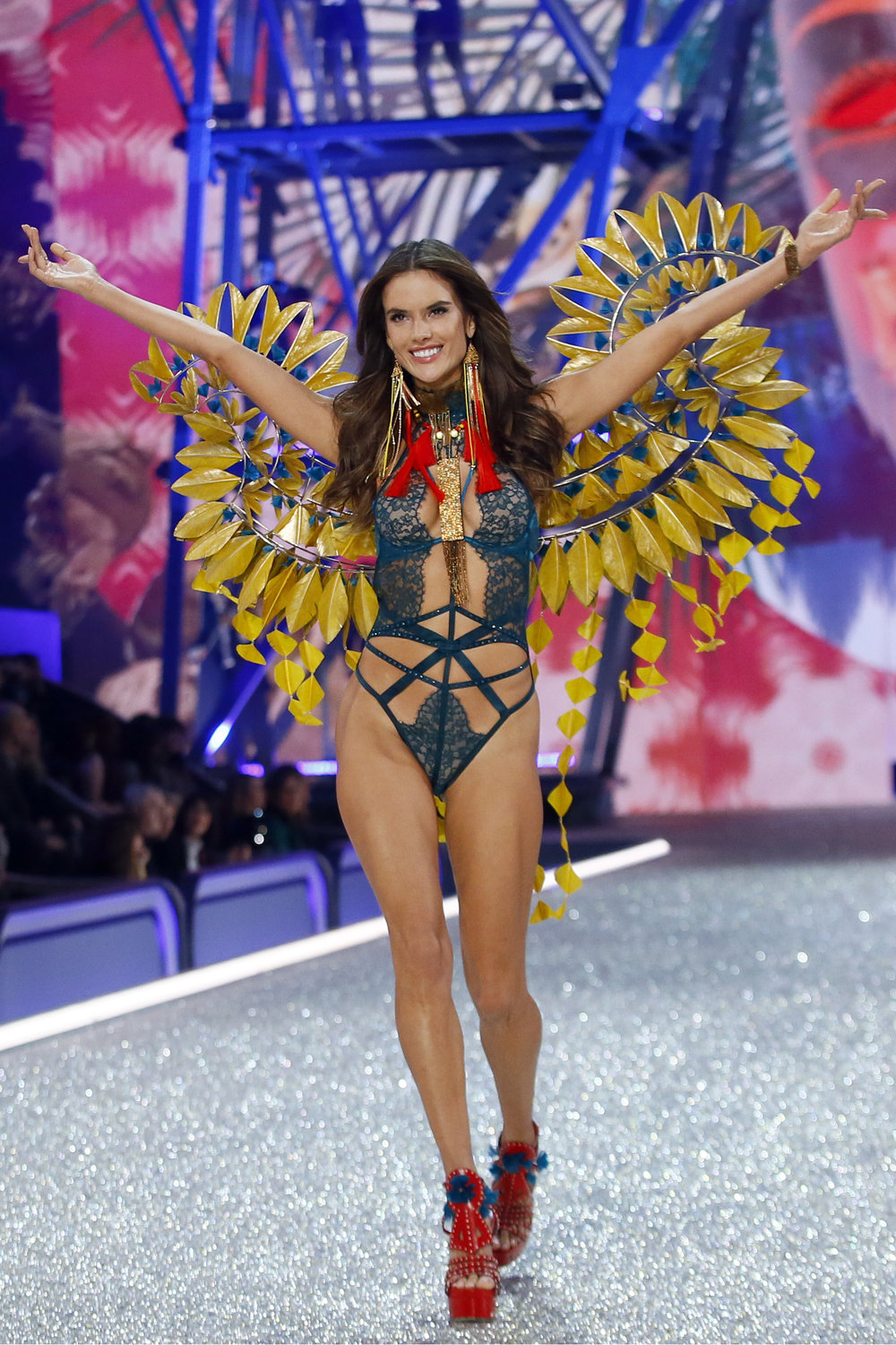 Model Alessandra Ambrosio displays a creation during the Victoria's Secret Fashion Show inside the Grand Palais, in Paris, Wednesday, Nov. 30, 2016. (AP Photo)