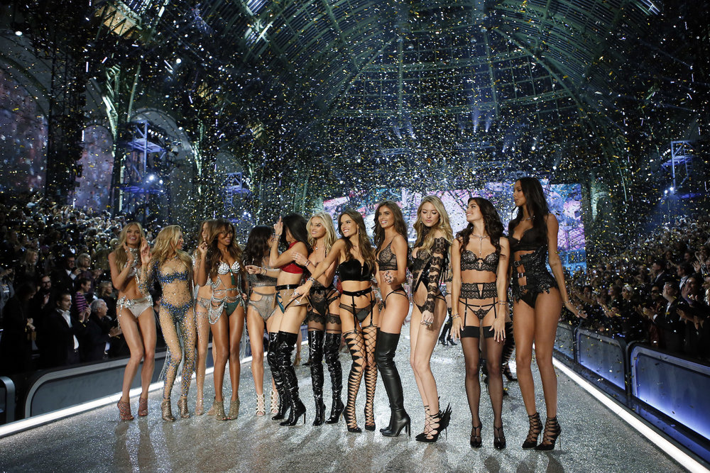 Models display a creation during the Victoria's Secret Fashion Show inside the Grand Palais, in Paris, Wednesday, Nov. 30, 2016. The pulse-quickening, celebrity-filled catwalk event of the year : the Victoria's Secret fashion show takes place in Paris with performances from Lady Gaga and Bruno Mars. (AP Photo)