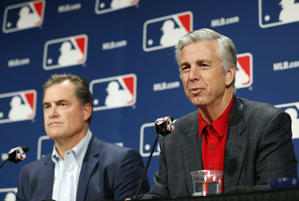 Boston Red Sox manager John Farrell, left, and Boston Red Sox president of baseball operations Dave Dombrowski answer questions from the media during Major League Baseball's winter meetings, Tuesday, Dec. 6, 2016.   (Alex Brandon/AP)