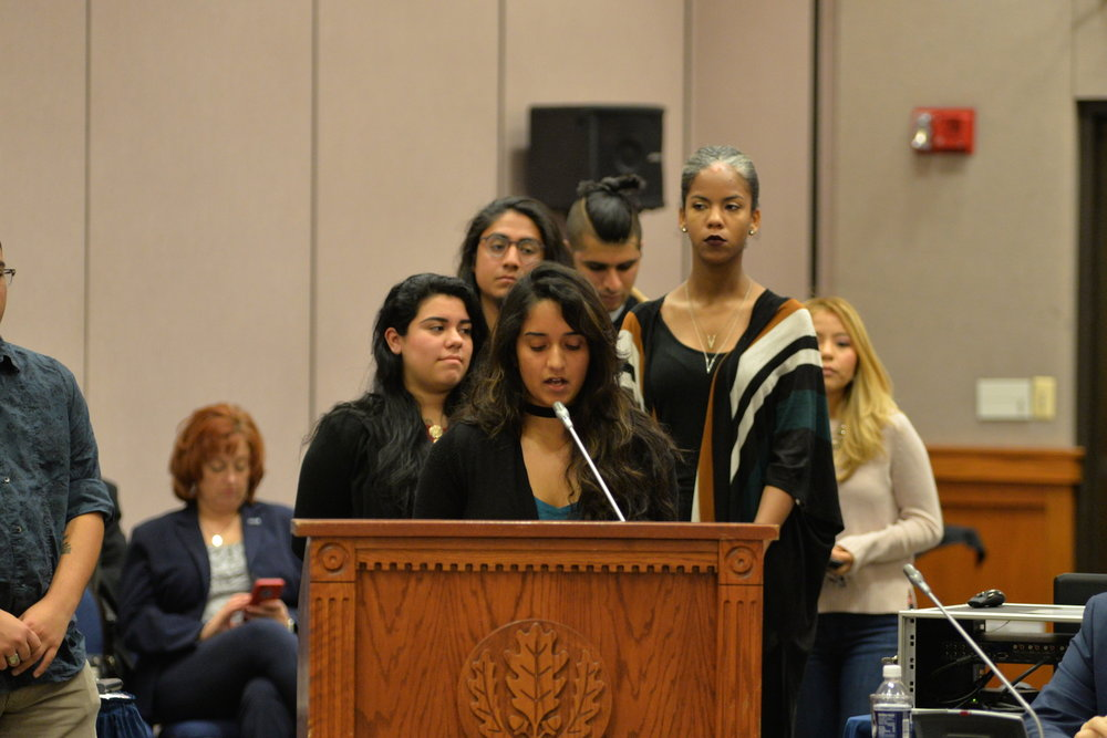 The Board of Trustees held their monthly meeting to discuss current affairs regarding the UConn community. Many students came to speak in support of undocumented students to ensure that the university will be considered a sanctuary city. Farzana Zubair, 7th-semester human development and family studies major, speaks at the meeting on Wednesday, Dec. 7, 2016. (Amar Batra/The Daily Campus)
