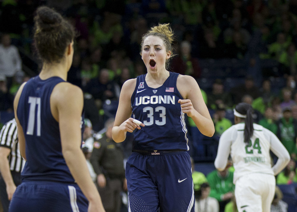 Connecticut's Katie Lou Samuelson (33) celebrates as she comes off the court following their 72-61 win over Notre Dame in an NCAA college basketball game, Wednesday, Dec. 7, 2016, in South Bend, Ind. (Robert Franklin/AP)