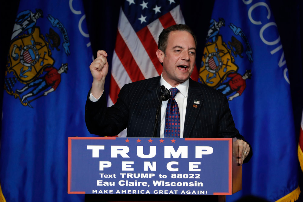 In this Republican National Committee (RNC) Chairman Reince Priebus campaigns for then-Republican presidential candidate Donald Trump during a rally at the University of Wisconsin Eau Claire, in Eau Claire, Wis. As Priebus moves to consolidate power, he's frustrating some long time Trump loyalists who believe he's too conventional a pick for an unconventional president. (Matt Rourke/AP)
