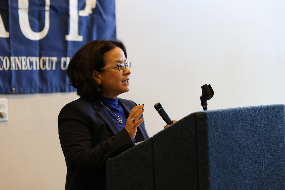 Diana Rios, AAUP at UConn president and professor of communciations, speaks at an AAUP rally in the Student Union on February 24, 2016. UConn and the AAUP will continue contract negotiations into 2017. (Jackson Haigis/The Daily Campus)