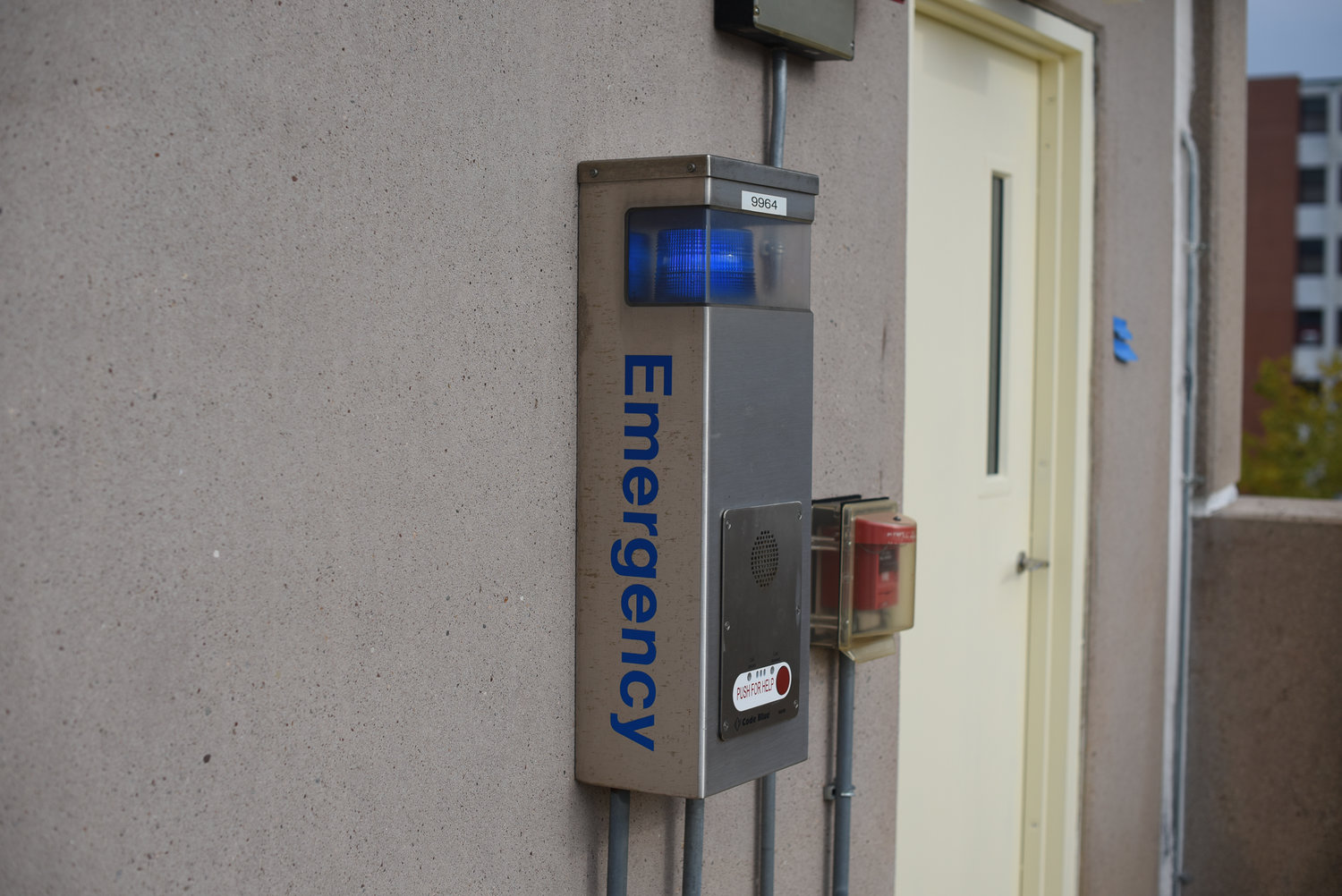 Blue Lights can be found all around campus to help students in emergency situations. The university is currently searching for new alternatives including phone applications to replace the system. (Zhelun Lang/The Daily Campus)