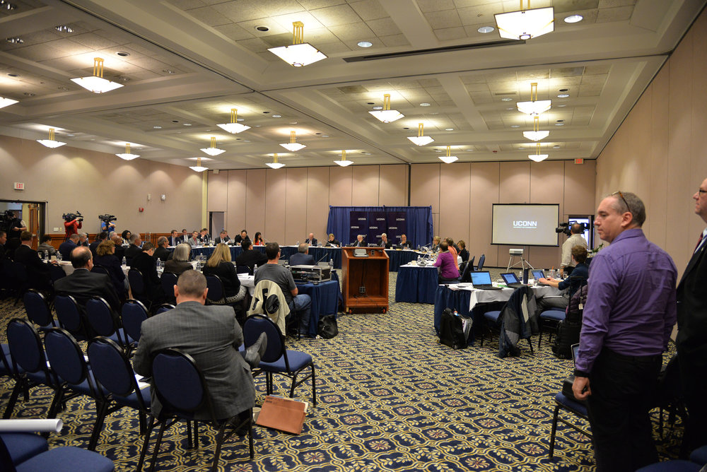 The UConn Board of Trustees meets for its monthly meeting in the Rome Ballroom on Wednesday, Dec. 8, 2016. The board voted to increase student fees in housing, transportation access and visas. (Amar Batra/The Daily Campus)
