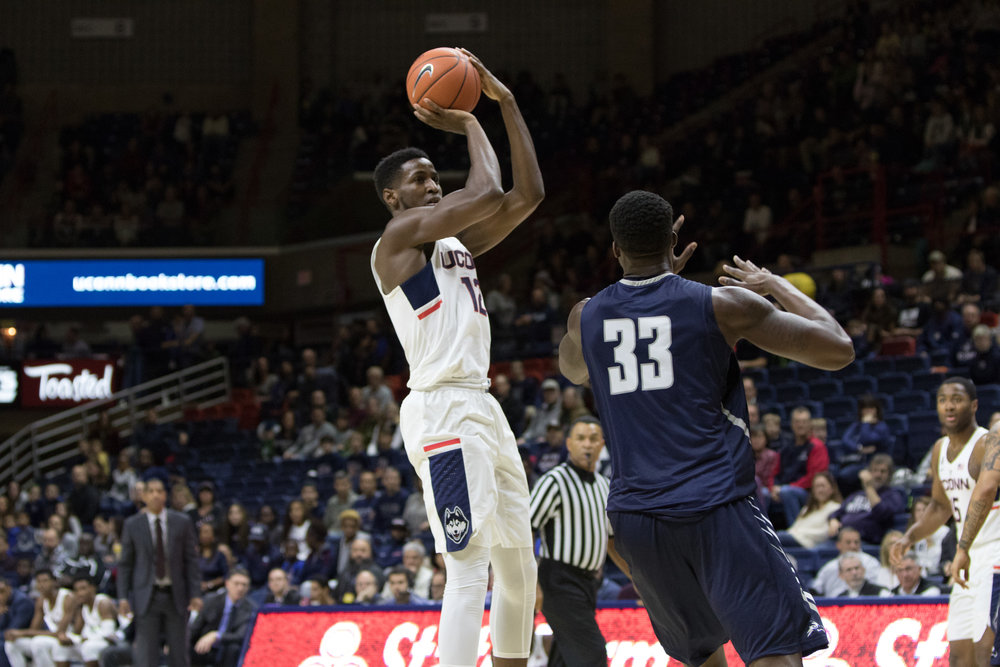 Kentan Facey pulls up for a jump shot in UConn's 80-59 win over North Florida at Gampel Pavilion on Dec. 18, 2016. (Jackson Haigis/The Daily Campus)