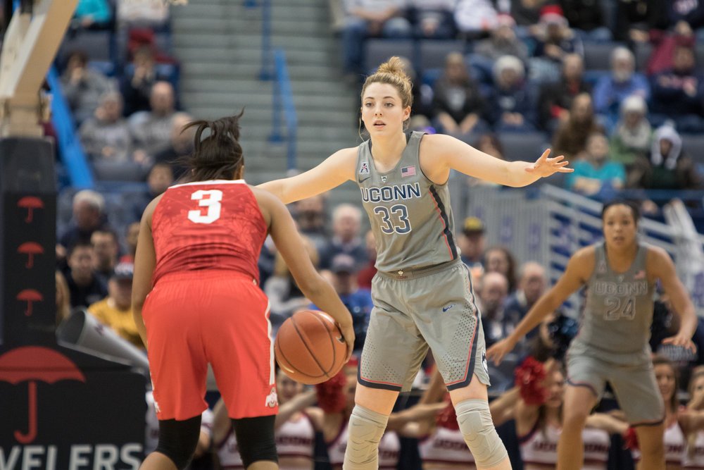 UConn's Katie Lou Samuelson (33) guards Ohio State's Kelsey Mitchell (3) in the Huskies' 82-63 win over No. 12 Ohio State on Monday, Dec. 19, 2016 at the XL Center in Hartford, Connecticut.