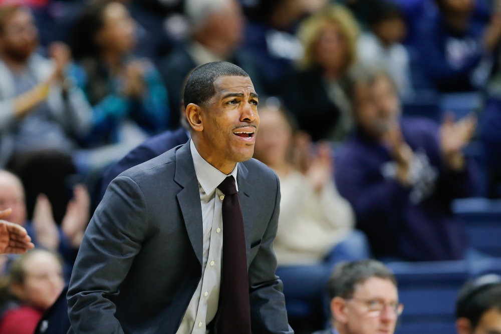 UConn men's basketball coach Kevin Ollie looks on in the Huskies' 80-59 win over North Florida on Dec. 18, 2016 at Gampel Pavilion.